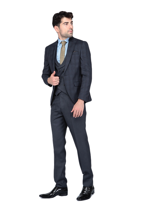 Мужской костюм тройка темно-серого цвета JP004