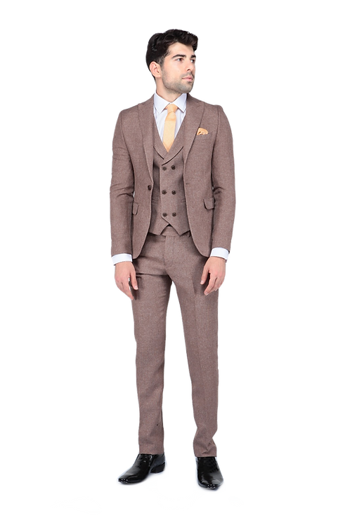 Мужской костюм тройка бежевого цвета JP002