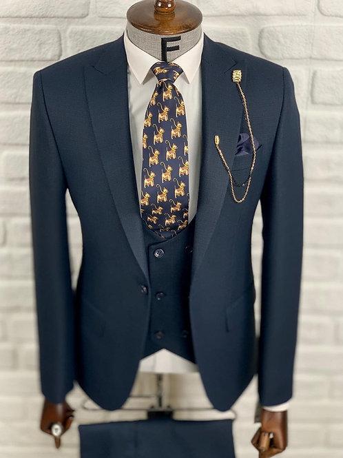 Мужской костюм тройка темно-синий