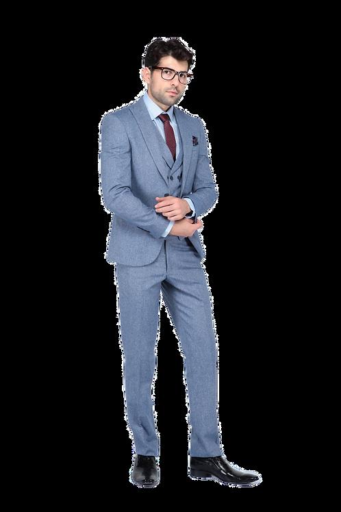 Мужской костюм тройка светло-серого цвета JP005