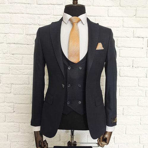 Мужской костюм тройка темно-синего цвета