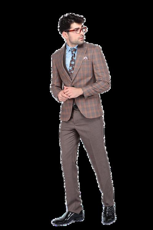 Мужской костюм тройка бежевого цвета в клетку JP003