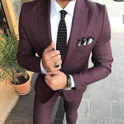 Мужской костюм тройка темно-бордового цвета
