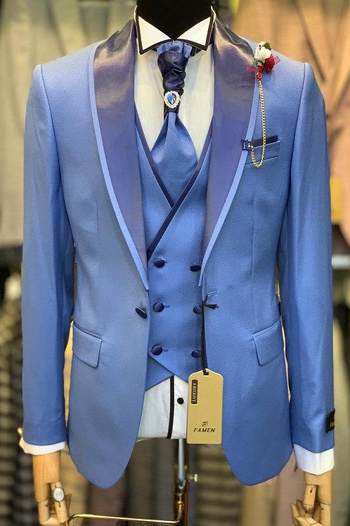 Мужской костюм смокинг светло-синего цвета F002