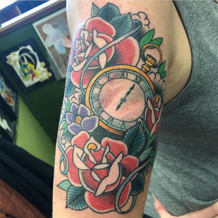 Clock and Roses by Josh