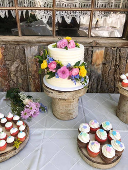 Rustic lined 2 tier with flowers