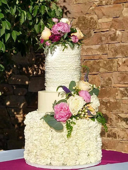 Ruffle and carnation cake