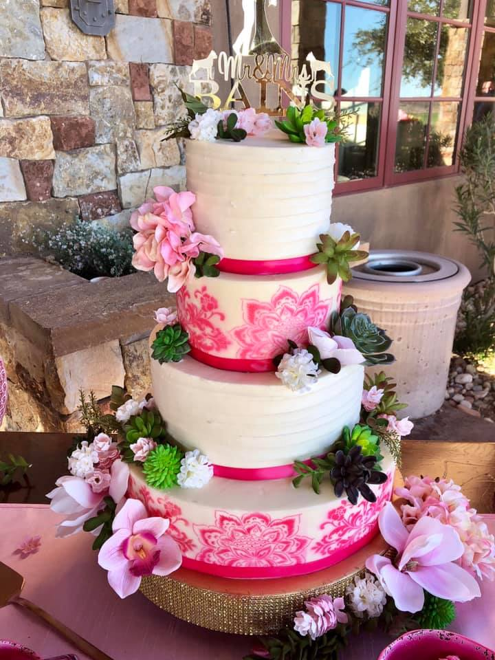 pink lace painted cake