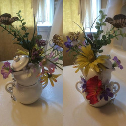 #handmade #floral #decor for #babyshower....a simple blue creamer and sugar bowl painted white found