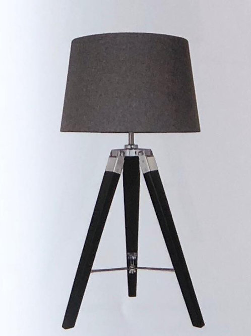 Black Table Lamp with Coloured Linen Shade