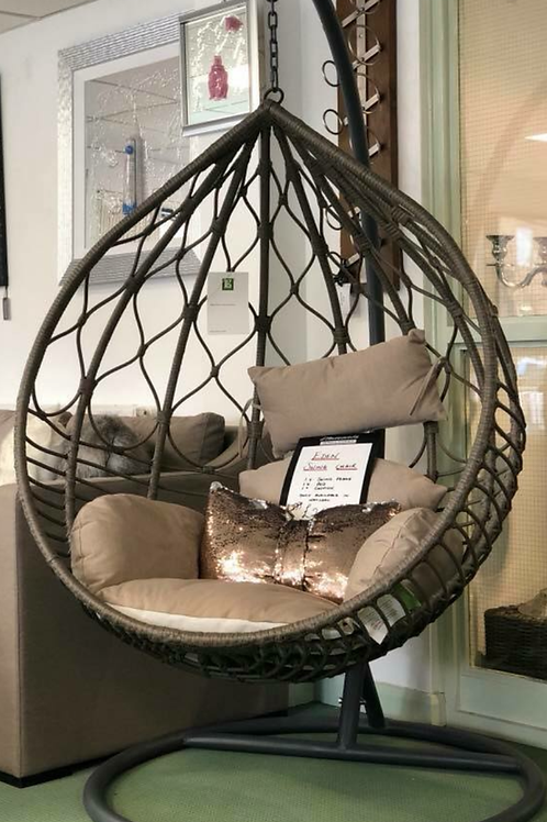 Brown Egg Swing Chair with Beige Cushions