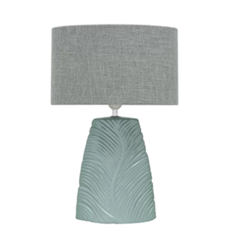 Green Ceramic Lamp with Oval Shade