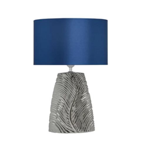 Chrome Ceramic Lamp & Electric Blue Shade