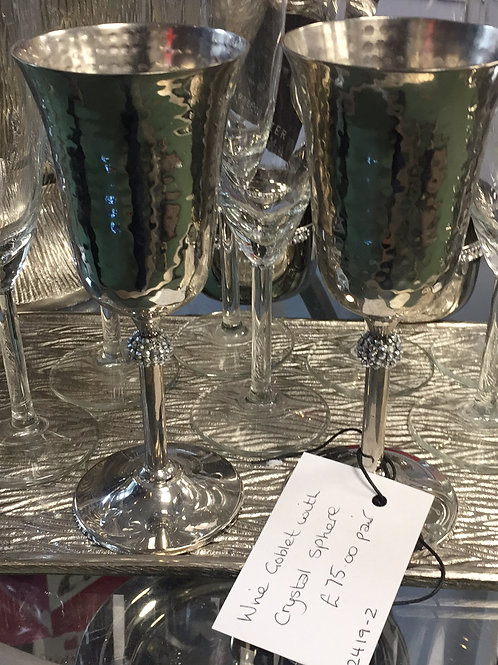 Pair of Crystal Wine Goblets