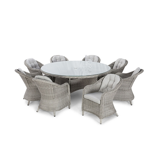 Oxford 8 Seat Round Dining Set with Rounded Chairs