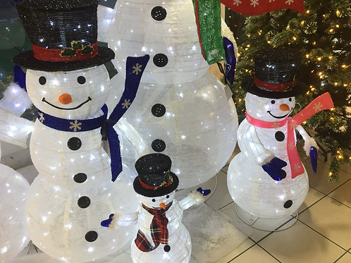 Snowman Family Collapsable with Led lights