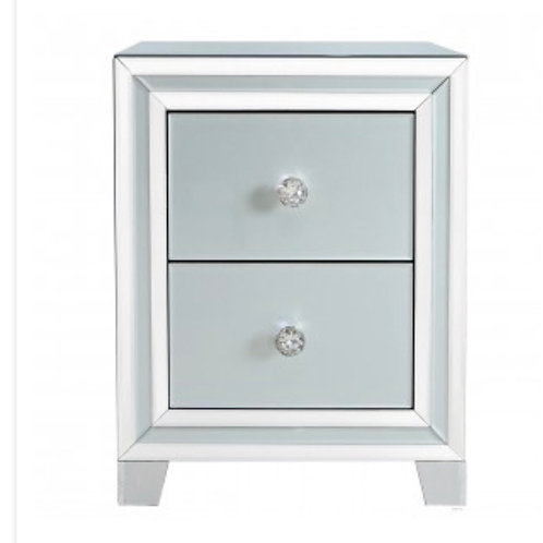 Grey Manhattan Mirror 2 Drawer Bedside Cabinet