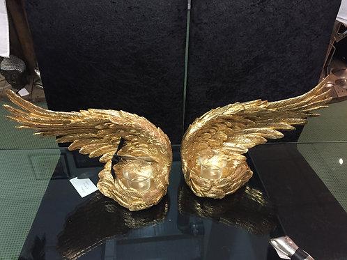 Gold Angel Wing T Light/Votive Holder