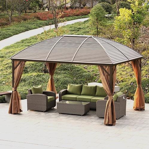 Lorenzo Brown 3 x 4m Galvanized Steel Roof Permanent Gazebo-Brown