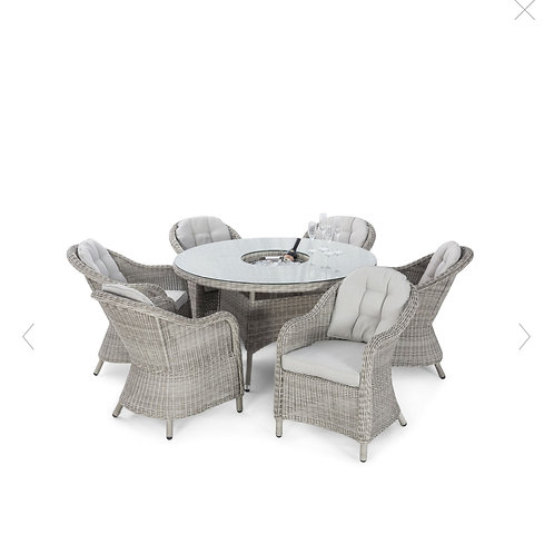 Oxford 6 Seat Round Ice Bucket Dining Set with Rounded Chairs