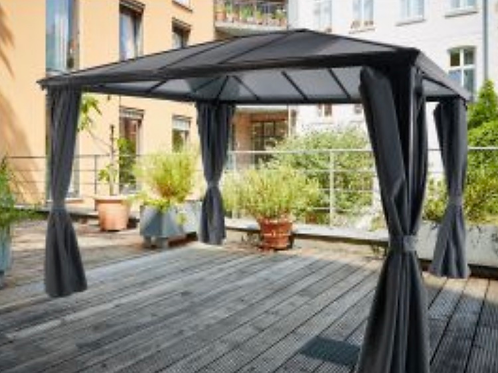 3x3.6m Knightsbridge Deluxe Polycarbonate Gazebo + Curtains + Nets