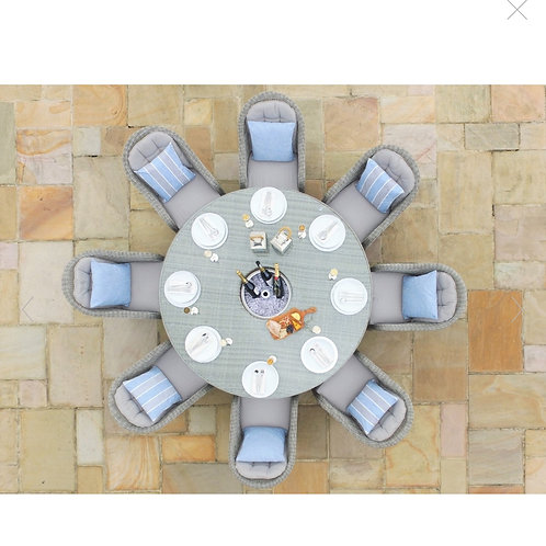 Oxford 8 Seat Round Ice Bucket Dining Set with Rounded Chairs