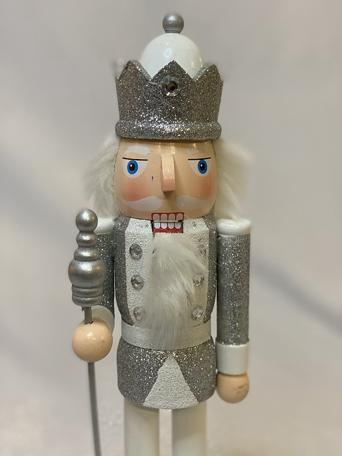 Silver glitter nutcracker small