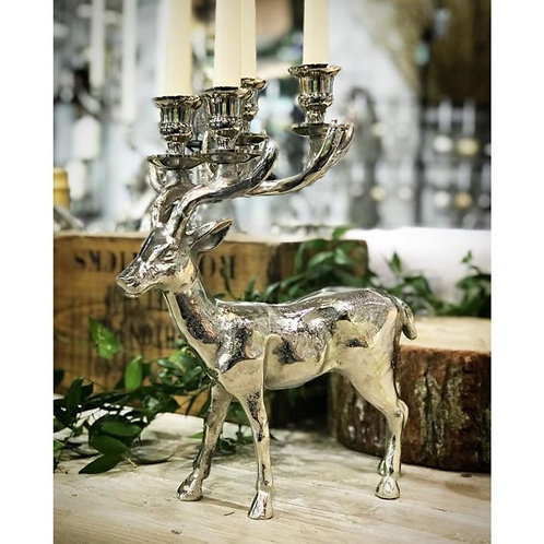 Standing Stag Four Taper Candle Holder