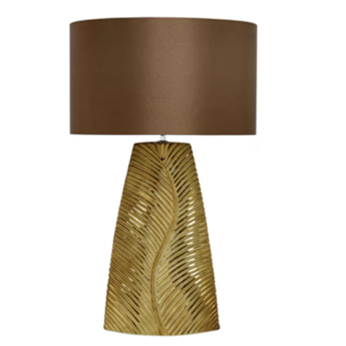 Gold Ceramic Lamp & Rust Silk Shade