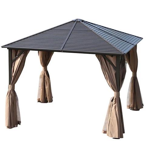 Knightsbridge 3x3 Galvanised Roof Gazebo with side Nets + Curtains