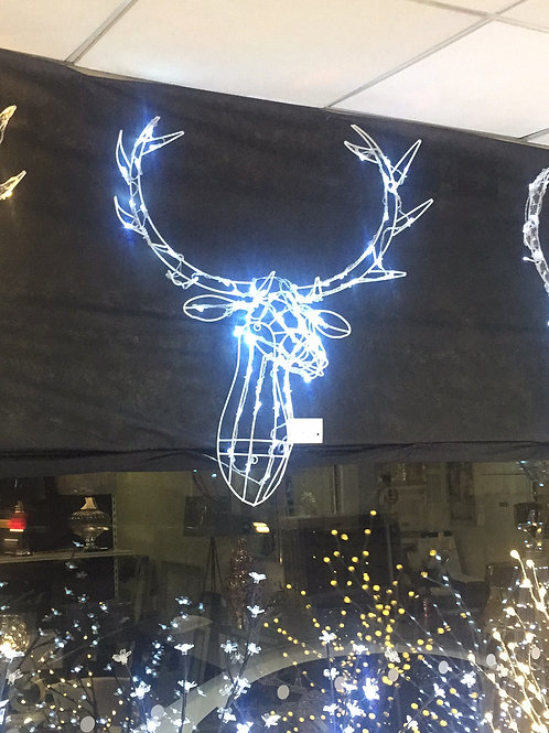 Wire Stag Head White Led's