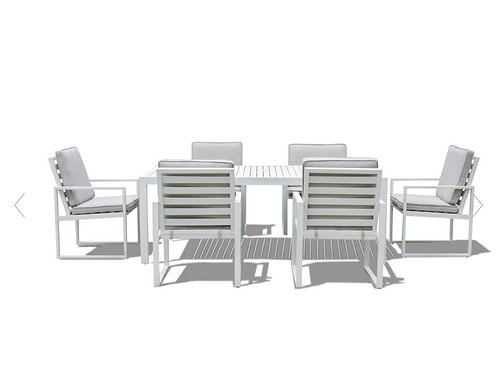 Amalfi 6 Seat Rectangular Dining Set with Slatted Chairs