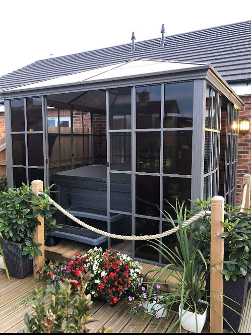 3x3m Knightsbridge Deluxe Solid Roof-Sliding Door Gazebo