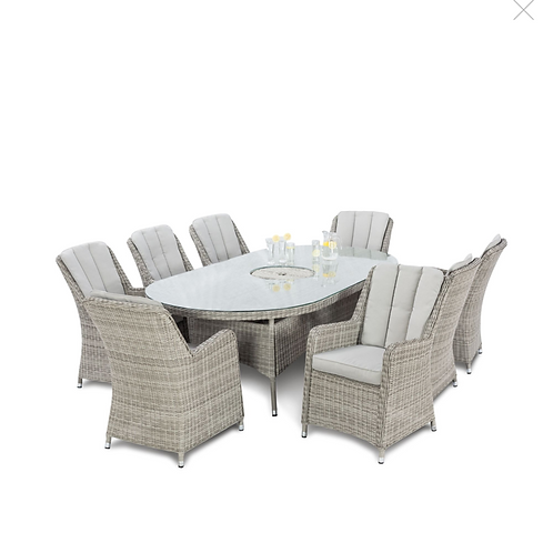 Oxford 8 Seat Oval Ice Bucket Dining Set with Venice Chairs