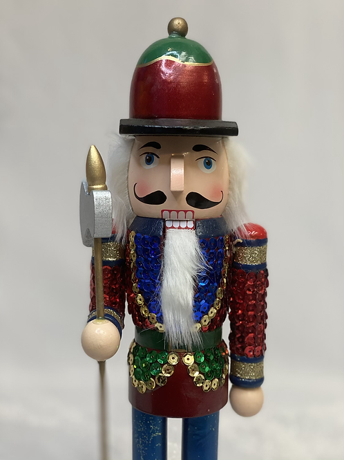 Small sequin nutcracker with staff