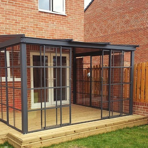 Knightsbridge Deluxe 3x4.8 Enclosed Wall Canopy with Retractable Roof and Sides
