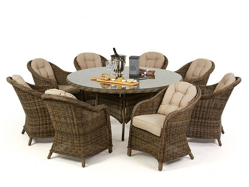 WINCHESTER 8 SEAT ROUNDED ARMCHAIR SET