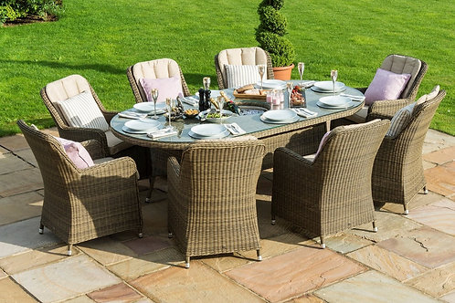 Winchester 8 Seat Oval Ice Bucket Dining Set with Venice Chairs and Lazy Susan