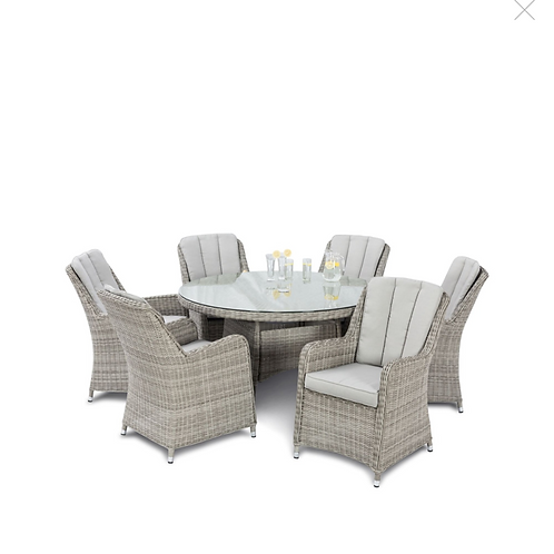Oxford 6 Seat Round Dining Set with Venice Chairs