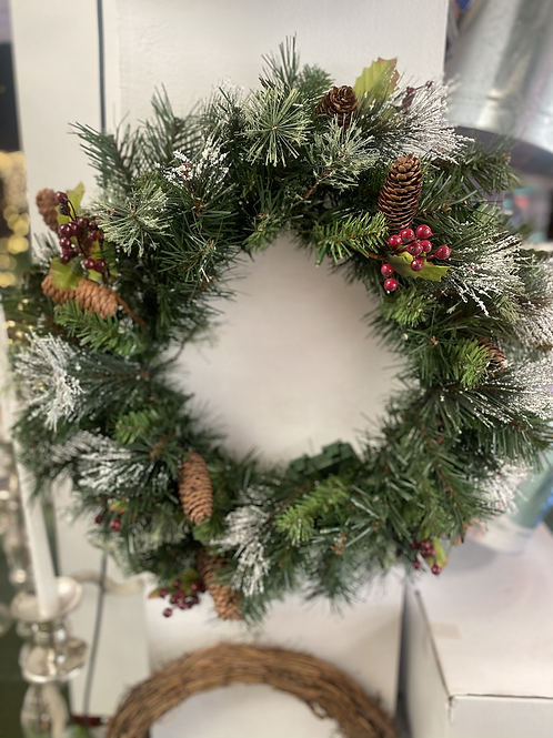 """20"""" Frosted berry wreath with battery's LED"""