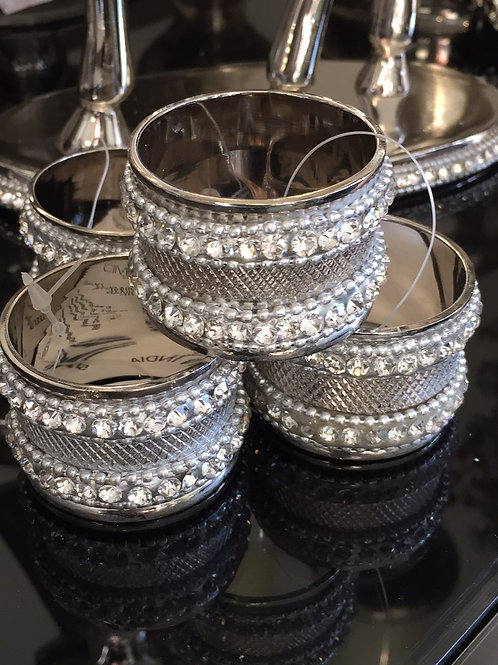 4 Double Ring Jewelled  Napkin Holders