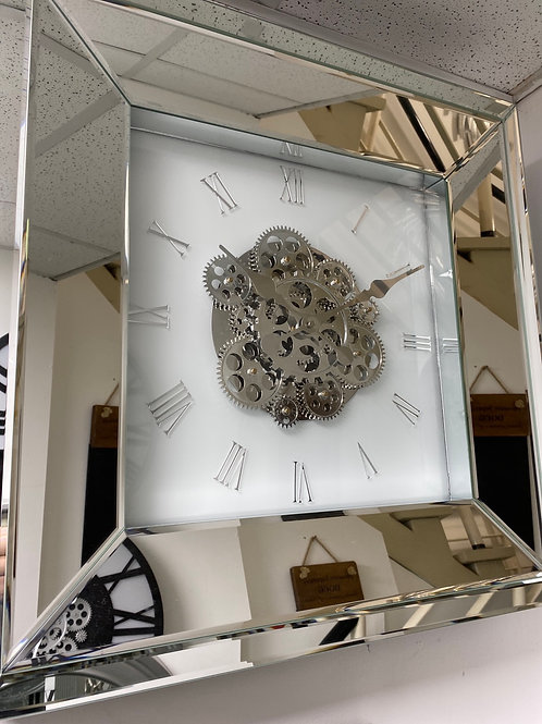 White mirror wall clock with gears 60x60cm
