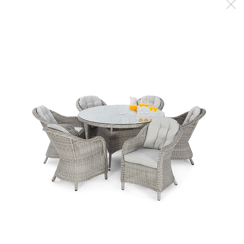Oxford 6 Seat Round Dining Set with Rounded Chairs