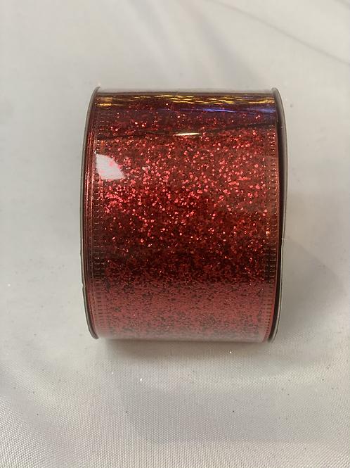 """2.5"""" x 10y red candycane ribbon"""