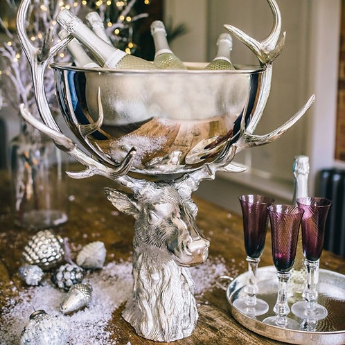 Large Punch Bowl with Stag Stand