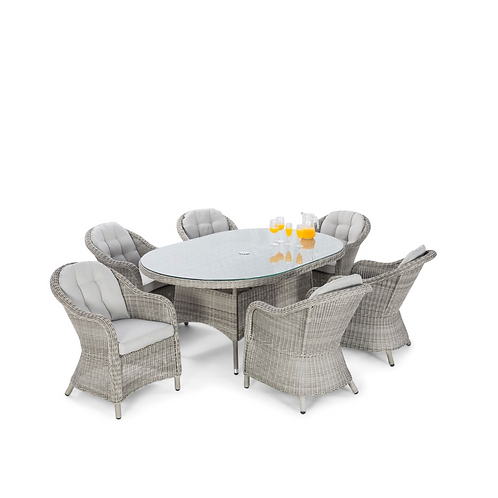 Oxford 6 Seat Oval Dining Set with Rounded Chairs