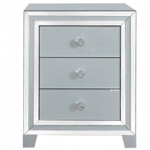 Grey Manhattan Mirror 3 Drawer Bedside Cabinet