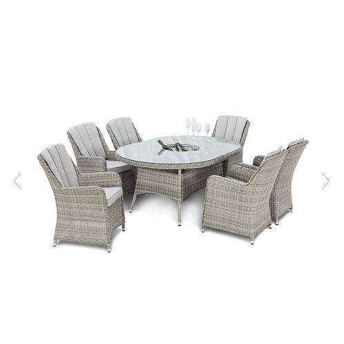 Oxford 6 Seat Oval Ice Bucket Dining Set with Venice Chairs