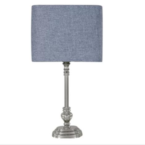 Nickel Lamp & Coloured Linen Shades 49cm