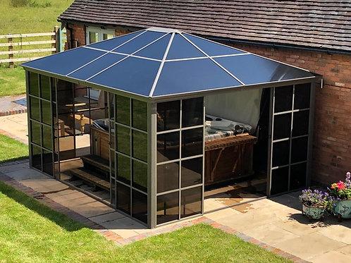 Knightsbridge Polycarbonate  Roof Gazebo 3.6 x 4.3